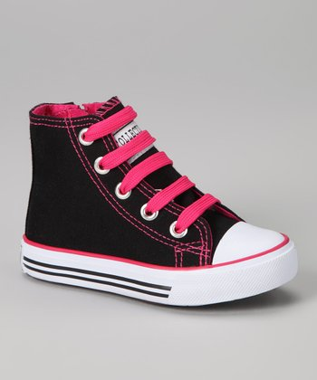 Black & Fuchsia Zipper Hi-Top Sneaker