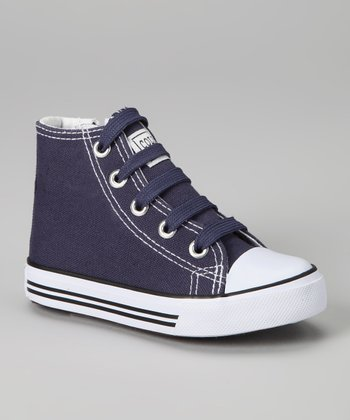 Navy Zipper Hi-Top Sneaker