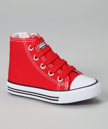 Red Zipper Hi-Top Sneaker