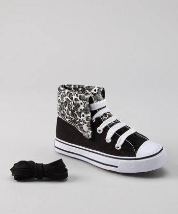 Black & Gray Leopard Hi-Top Sneaker