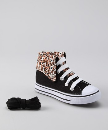 Black & Leopard Hi-Top Sneaker