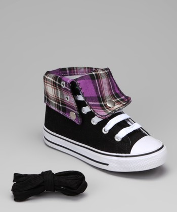 Black & Purple Plaid Hi-Top Sneaker