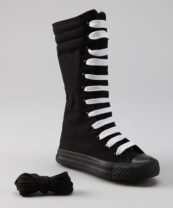 Black Knee-High Sneaker