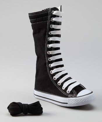 Black & White Knee-High Sneaker
