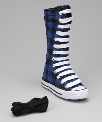Black & Royal Blue Plaid Knee-High Sneaker