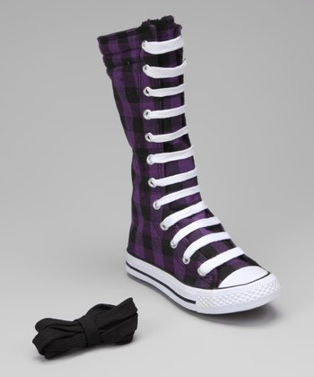 Black & Purple Plaid Knee-High Sneaker