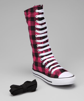 Black & Hot Pink Plaid Knee-High Sneaker