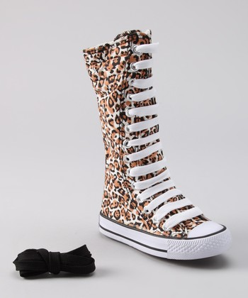 Tan Leopard Knee-High Sneaker