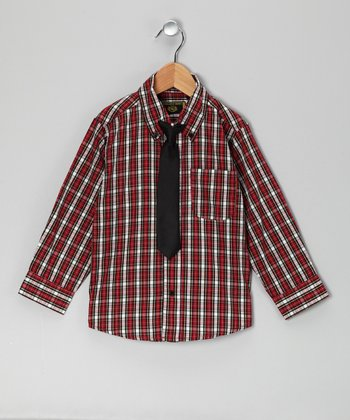 Red Plaid Button-Up & Tie - Toddler