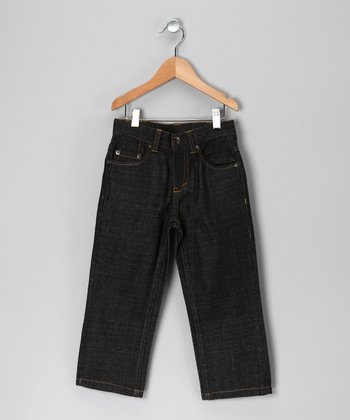 Dark Blue Contrast Stitch Jeans - Toddler & Boys