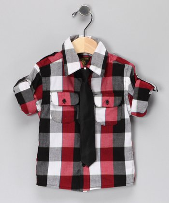 Black Plaid Button-Up Shirt & Tie - Infant