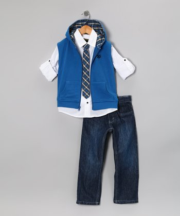 Royal Blue Zip-Up Vest Set - Toddler & Boys