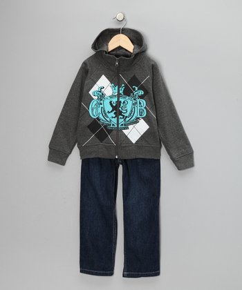 Gray Argyle Zip-Up Hoodie & Jeans - Toddler