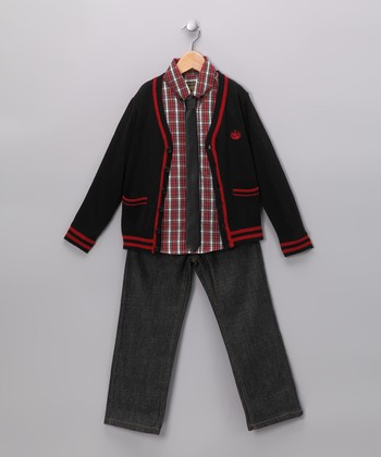 Black & Red Cardigan Set - Toddler