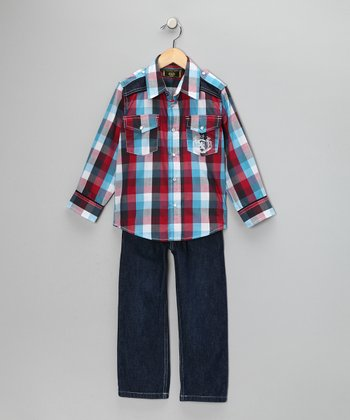 Western Plaid Button-Up & Jeans - Toddler & Boys