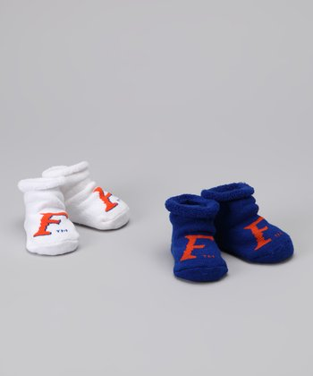 College Edition White & Blue Florida Booties Set - Infant