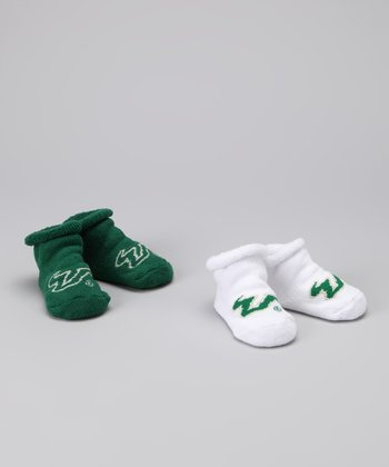 White & Green South Florida Booties Set - Kids