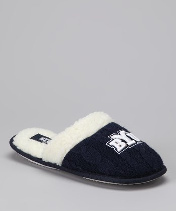 Navy Brigham Young Plush Slipper - Women