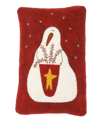 Red & Cream Snowman Gathering Pillow