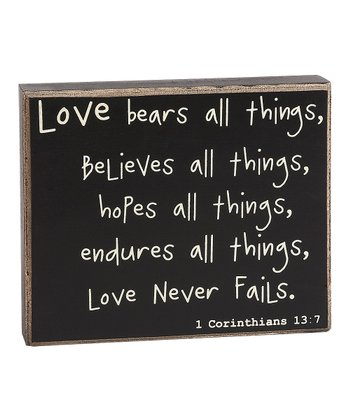 'Love Never Fails' Box Sign