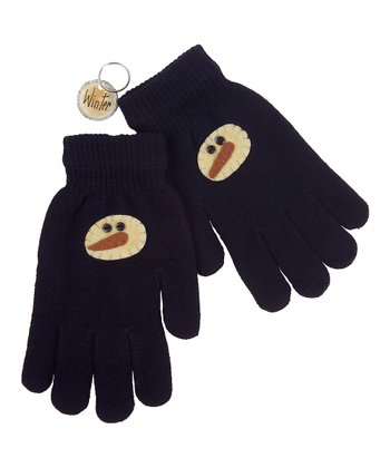 Black & Cream Winter Frosty Gloves