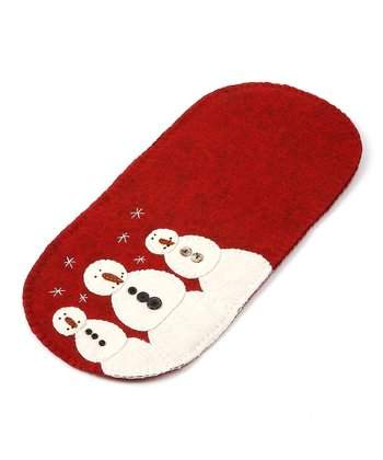 Red & Cream Snowman Trio 18'' Runner