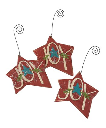Collins Cream & Red 'Joy' Star Ornament - Set of Three