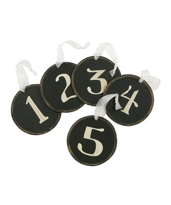 Black Circle Number Ornament Set