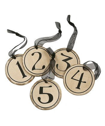 White Circle Number Ornament Set