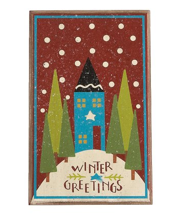 Red & Cream 'Winter Greetings' Ornament