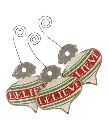 Cream & Red 'Believe' Vintage Ornament - Set of Three