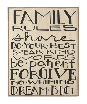 White 'Family Rules' Plaque