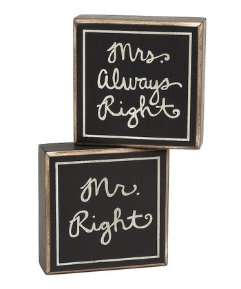 'Mr. Right' & 'Mrs. Always Right' Box Sign Set