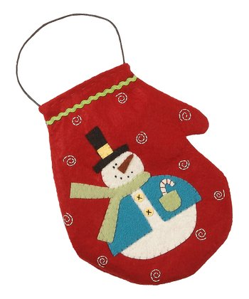 Red Merry & Bright Large Mitten Ornament