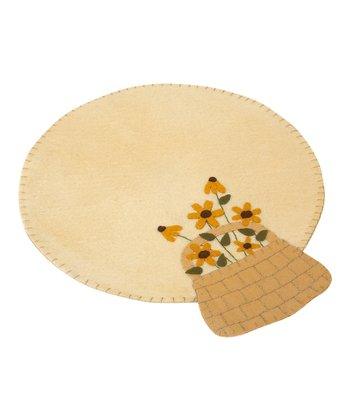 Yellow Daisy Basket Round Table Mat