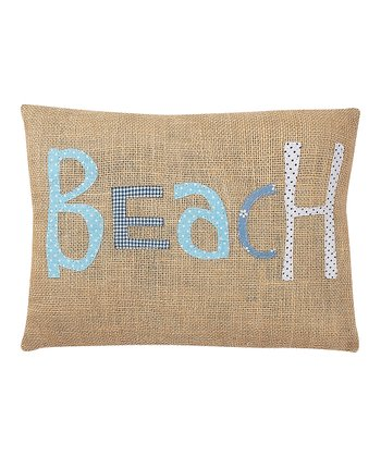 'Beach' Burlap Pillow