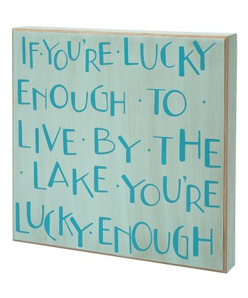 Seafoam Green & Blue 'Lucky Enough' Box Sign