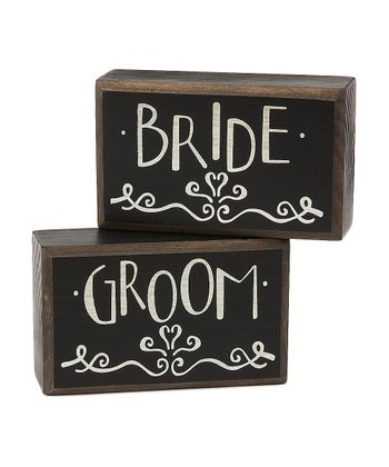 'Bride' & 'Groom' Box Sign Set