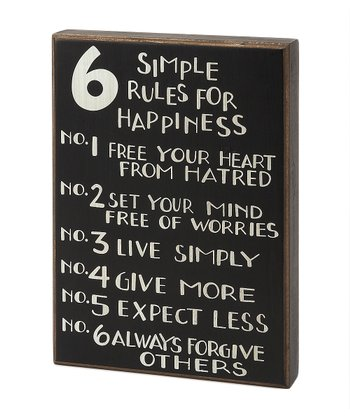'6 Simple Rules' Box Sign
