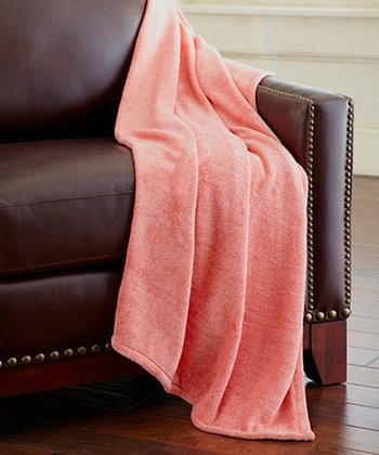 Orange Heather Coral Fleece Throw