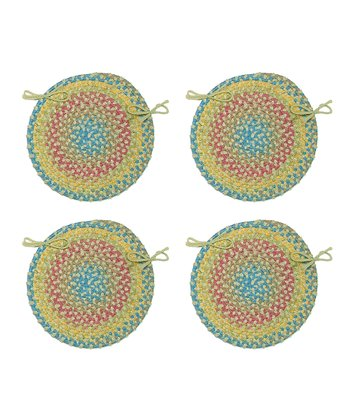 Kiwi Botanical Isle Chair Pad - Set of Four