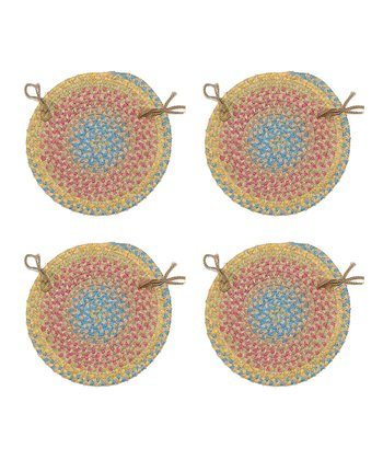 Sand Botanical Isle Chair Pad - Set of Four