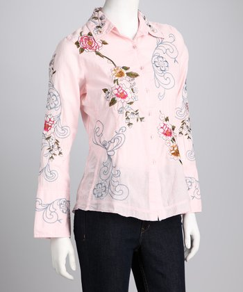 Pink Embroidered Button-Up Top
