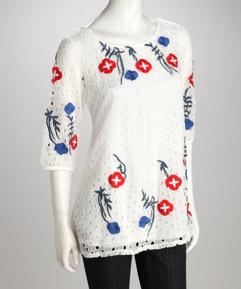White & Blue Embroidered Eyelet Tunic