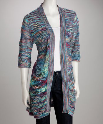 Gray & Purple Plus-Size Open Cardigan