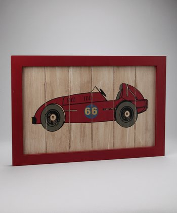 Red Racecar Wall Plaque