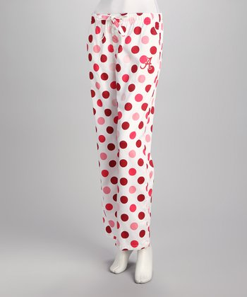 White & Crimson Alabama Polka Dot Pants - Women