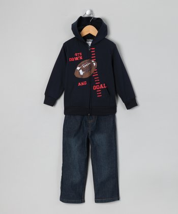 Navy 'Goal' Zip-Up Hoodie & Jeans - Infant, Toddler & Boys