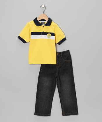 Yellow Stripe Polo & Jeans - Infant & Toddler