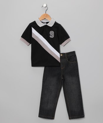 Black & Gray Diagonal Stripe Polo & Jeans - Infant & Toddler